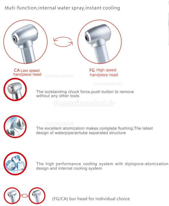 Dental 1020CH 1:1 Inner Water Spray Contra Angle Push Button Handpiece
