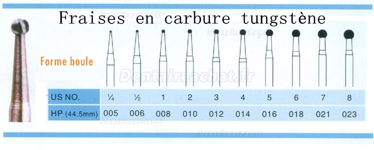 HP014 Fraises carbure tungsten forme boule 20pcs